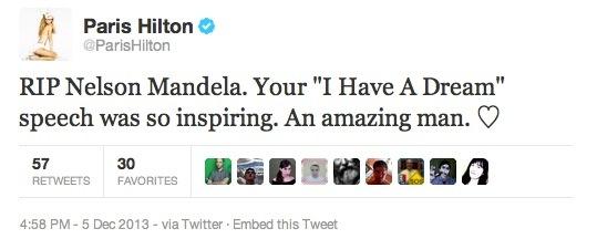 Tweet von @ParisHilton, indem sie die 'I have a dream'-Rede Nelson Mandela zuschreibt